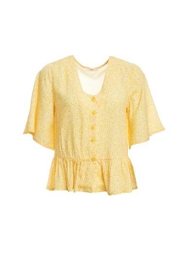 DeFacto V Yaka Çiçek Desenli Beli Büzgülü Kısa Kollu Bluz  Sarı